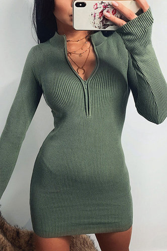 front_Maegan Green Ribbed Dress