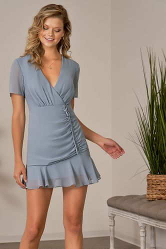 front_Fresh Perspective Dusty Blue Mini Dress