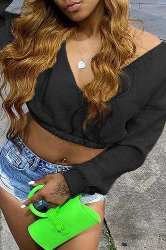 back_Sexy Low Cut Solid Shirred Black Sweatshirts & Hoodies