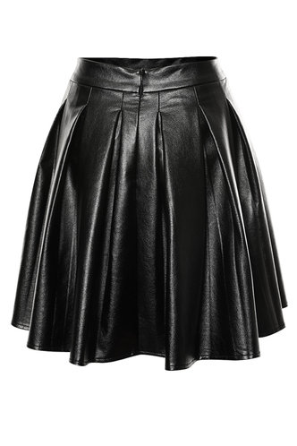 back_Party In Pleats Black PU Leather Skirt