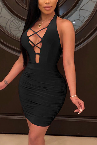 front_Sherry Edwina Black Lace Up Ruched Bodycon Dress