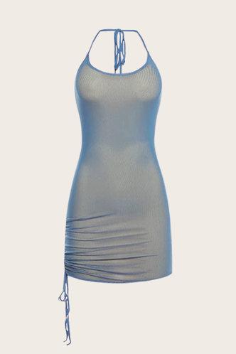 back_Karla Elsie Blue Plus Halter Bodycon Dress