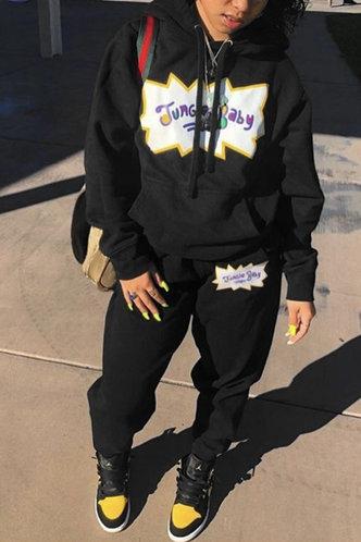 front_Letter Print Drawstring Pullover Black Sweatshirt Sets