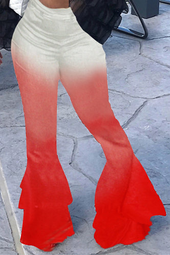 front_Flossie Elsa Red Gradient Plus Flare Pants