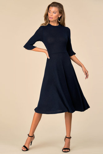 front_Call Me Classy {color} Trumpet Sleeve Dress