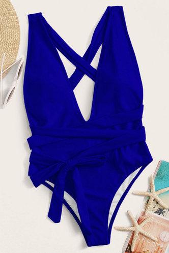 back_Don't Break My Heart Blue One-Piece Swimsuit