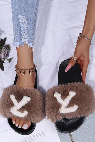 back_Letter Print Open Toe Flat Brown Sandals