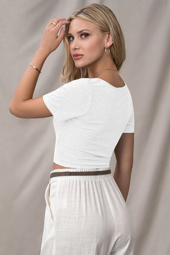 back_Adore You White Short Sleeve Top