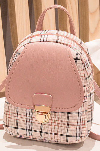front_Eunice Hakil Pink Plaid Bagpack