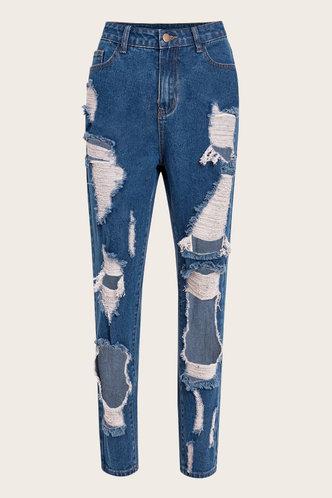 back_High Waist Wash Dark Blue Women Jeans