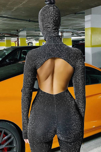 back_High Neck No pattern  Long  No special process Black Glitter Jumpsuits