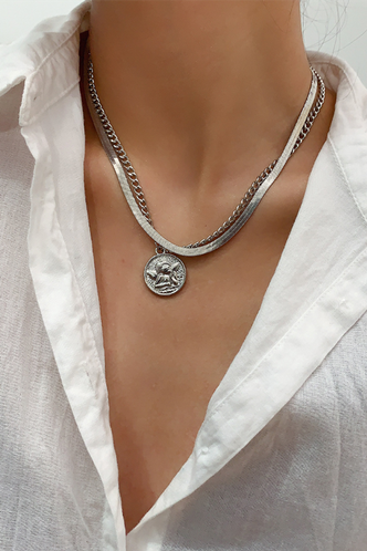 front_Mandy Eden Sliver Layared Necklace