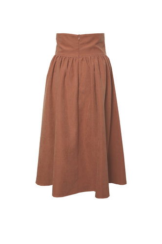 back_Round About Brown Faux Suede Skirt