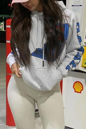 back_Sporty Hooded Collar Letter Pocket Light Heather Grey Sweatshirts & Hoodies