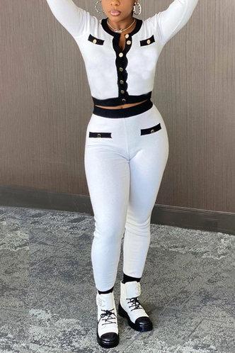 back_Pocket Metallic Button White Pants Sets