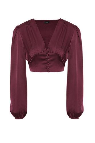 back_So Fancy Burgundy Shirred Blouse