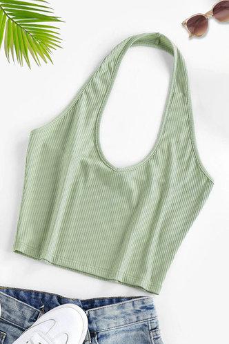 front_Dahlia Mint Green Halter Top