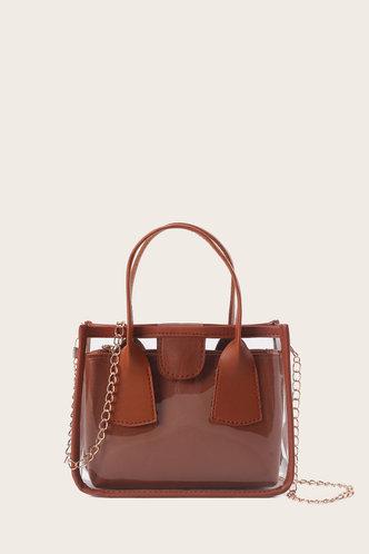 back_Casual Sweet Plain Metallic Zipper Up Brown Satchels