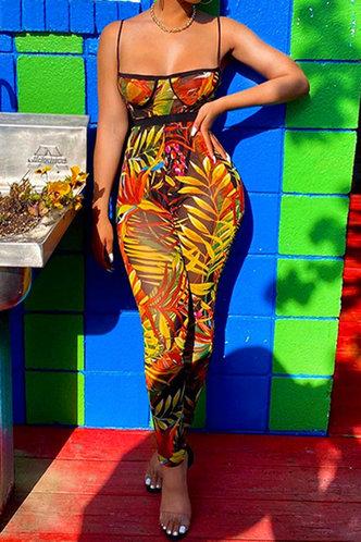 front_Eleanora Elizabeth Yellow Leaf Print Jumpsuit