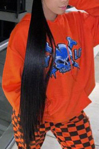 back_Casual Street Chic Pocket Loose Orange Plus Size Sweatshirts & Hoodies