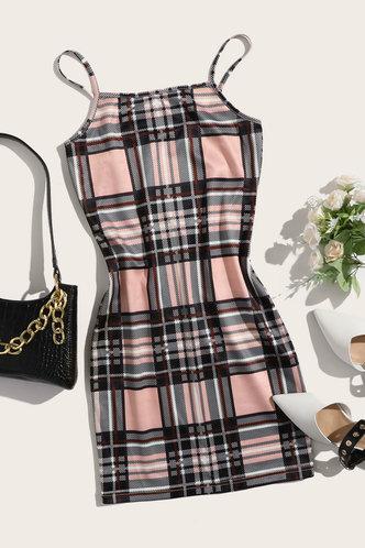 front_Bonnie Edwina Khaki Plaid Dress