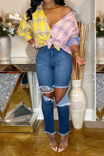 front_Alba Elaine Wash Blue Ripped Knee Jeans