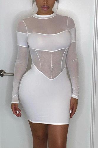 front_Bar/Nightclub Mini Crew Neck Regular Sleeve White Plain Dress