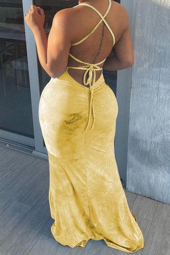 back_Deane Elma Yellow Tie Dye Halter Bodycon Dress