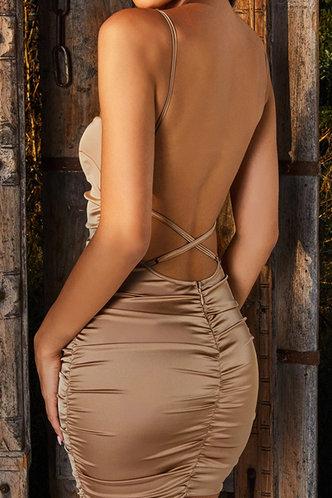 back_Vacation Bar/Nightclub Party Beach Sleeveless Off the Shoulder Square Neck Khaki Dresses