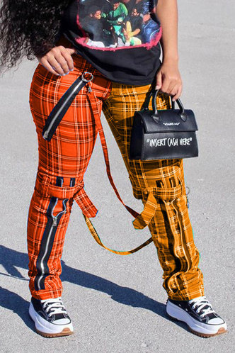 front_Beverly Emily Orange And Yellow Plaid Plus Pants