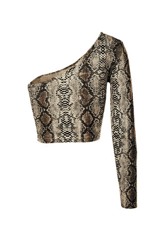 back_Carefree Living Yellow Snake Print One Shoulder Top