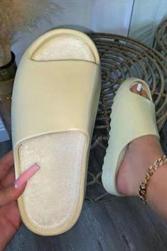 front_Solid Khaki Slides & Flip Flops