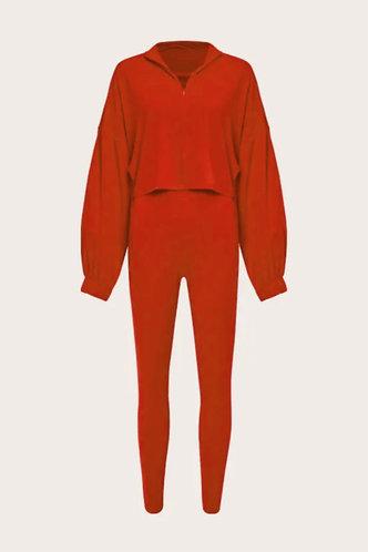 back_Zipper Up Red Pants Sets