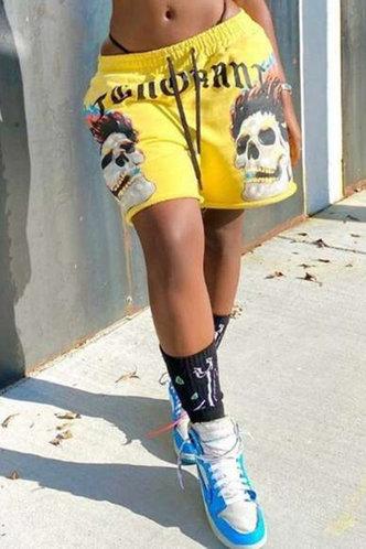 front_Kimberley Eden Yellow Multi Print Shorts