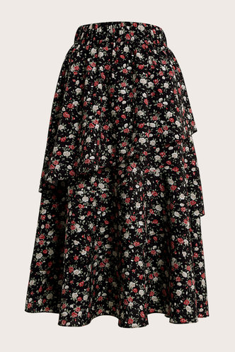 front_Zoey Black Ditsy Floral Midi Skirt