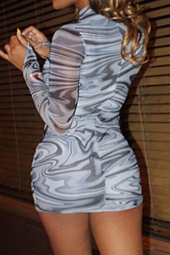 back_Caroline Irlan Marble Print Bodycon Dress