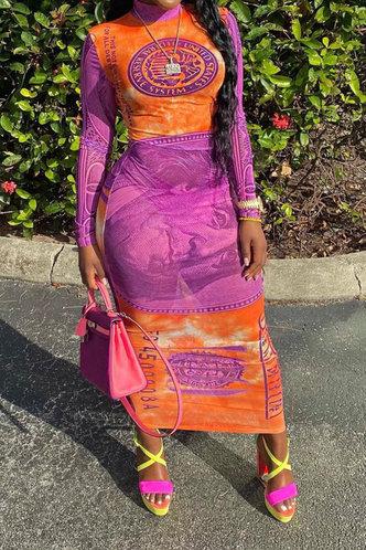 front_Coral Kradan Dollar Print Maxi Bodycon Dress