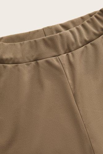 back_High Waist Flare Leg Light Khaki Pants