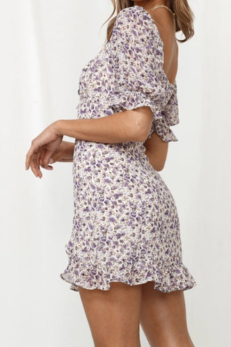 back_Darlene Kredeblo Purple Floral Print Tie Front Dress
