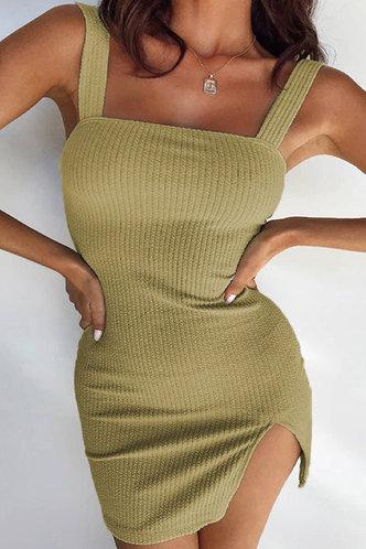 front_Aggy Eleanore Sage Green Plus Split Hem Dress