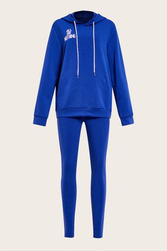 back_Letter Pullover Blue Pants Sets