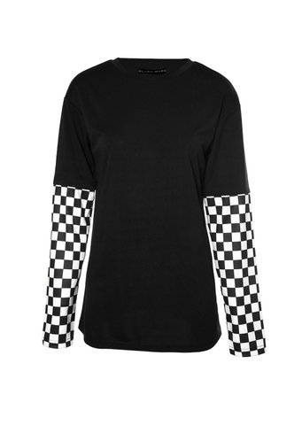 front_First Place Black Print Tee
