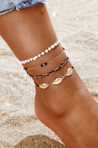 front_Annabella Elsie Multicolor Faux Pearls Charm Anklet