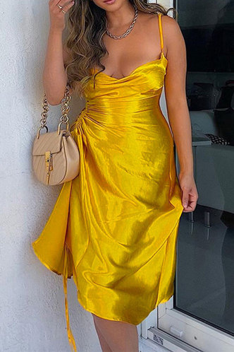 back_Plain  Gold Long Dresses