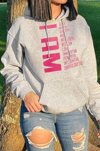 front_Casual Hooded Collar Letter Pocket Light Grey Sweatshirts & Hoodies