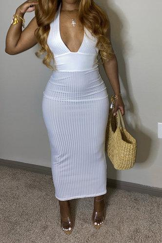 front_Backless Long Halter White Plain Dress