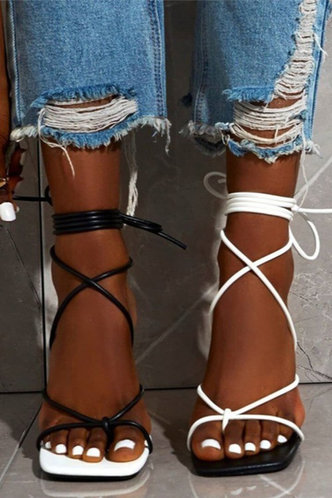 front_Anastasia Pluming Black And White Heeled Sandals