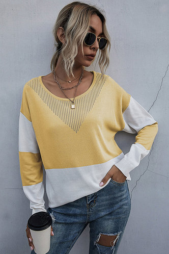 front_Faithe Yellow And White Colorblock Sweater