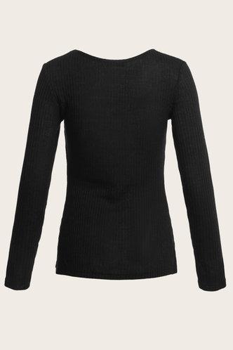 back_Signal Boost Black Rib Knit Fitted Tee