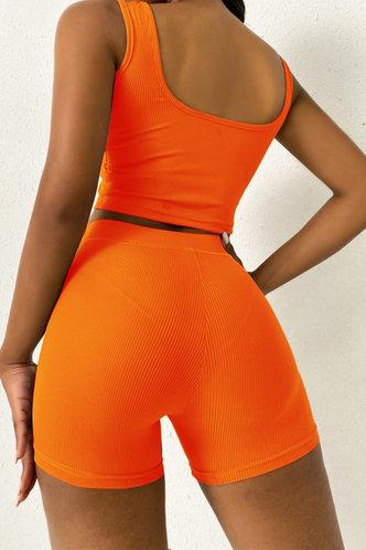 back_Plain Elastic Band Orange Shorts Sets